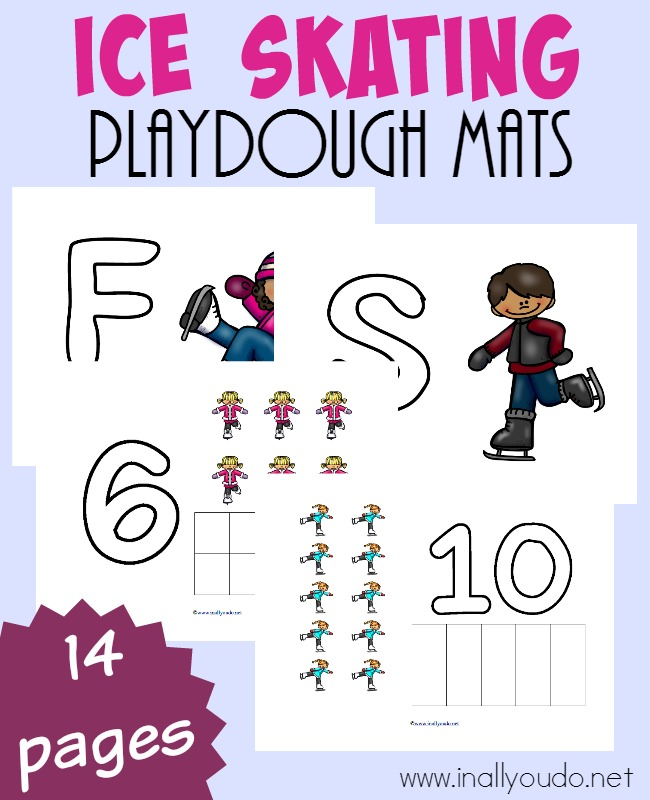Do you love ice skating? My kids sure do, but when we can't go...these fun Ice Skating Playdough Mats are great for some quick and easy learning! :: www.inallyoudo.net