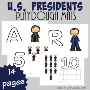 Now your little ones can have fun and study the U.S. President's at the same time! Grab these {FREE} U.S. President's Playdough Mats today! :: www.inallyoudo.net