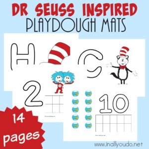 Get ready and inspired for Read Across America Day, March 2nd. These Dr. Seuss inspired Playdough Mats are sure to be a crowd pleaser! :: www.inallyoudo.net