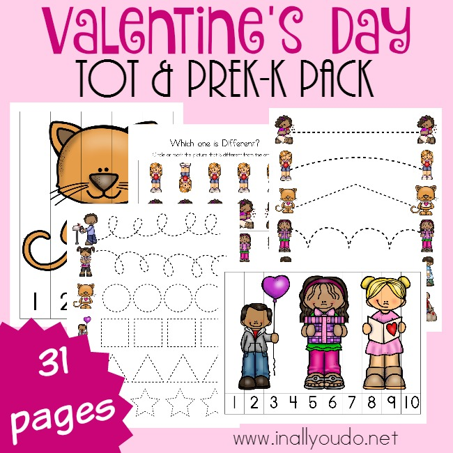Little ones can have fun and learn too with this activity packed Valentine's Day Tot & PreK-K Pack! Includes over 30 pages of printables! :: www.inallyoudo.net