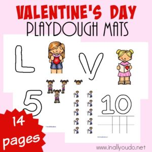 Your little ones are sure to love these Valentine's Day playdough mats. They are perfect for counting, fine motor skills and more! :: www.inallyoudo.net