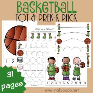 Do you have little basketball fans in your house? They will surely love this Basketball Tot & PreK-K pack full of puzzles, prewriting practice and so much more! :: www.inallyoudo.net