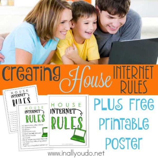 Is the internet usage out-of-control in your house? Do want your children to be as safe as possible online? Create House Internet Rules with this FREE Printable. :: www.inallyoudo.net