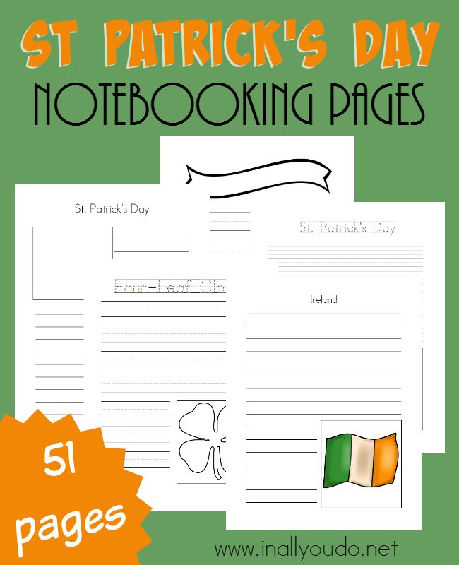 St Patrick's Day Notebooking Pages