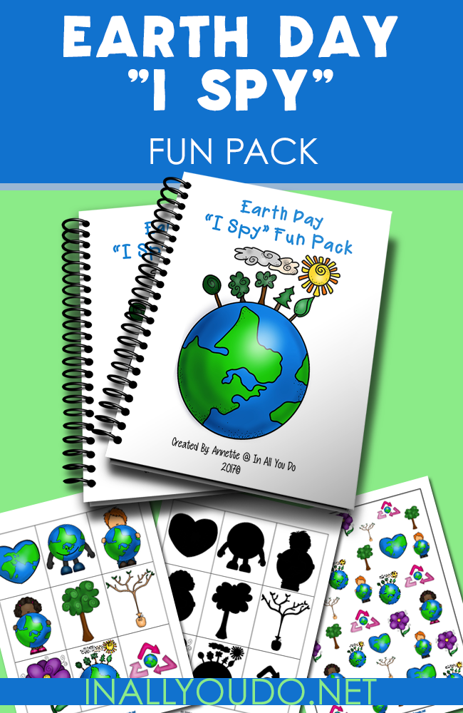 "Celebrating Earth Day this year? Grab this SUPER FUN ""I Spy"" pack with activities for your PreK-K crowd. :: www.inallyoudo.net"