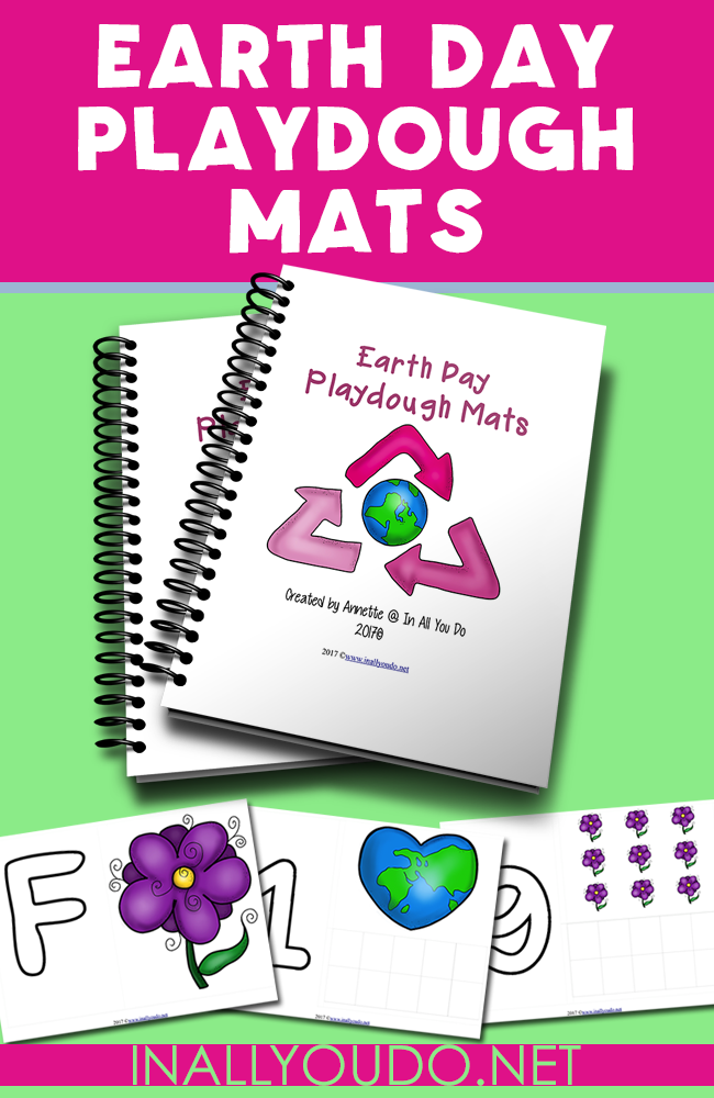 Celebrating Earth Day? Your little ones will have fun working on their letters and counting skills with the themed playdough mats. :: www.inallyoudo.net