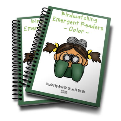 Young readers can learn about birds and birdwatching while working on their reading skills with these Emergent Readers. Available in both color and black & white. :: www.inallyoudo.net