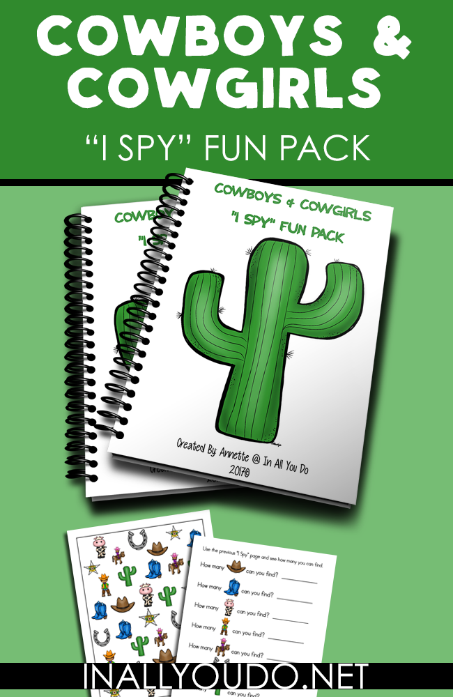 "Little kids will have fun with this simple ""I Spy"" Fun Pack with a Cowboy & Cowgirl theme. Includes an ""I Spy"" page, can you find? page, graphing page, shadow matching/memory game cards and story-telling cards. :: www.inallyoudo.net"
