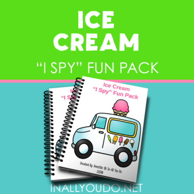 Ice Cream themed I Spy Fun Pack