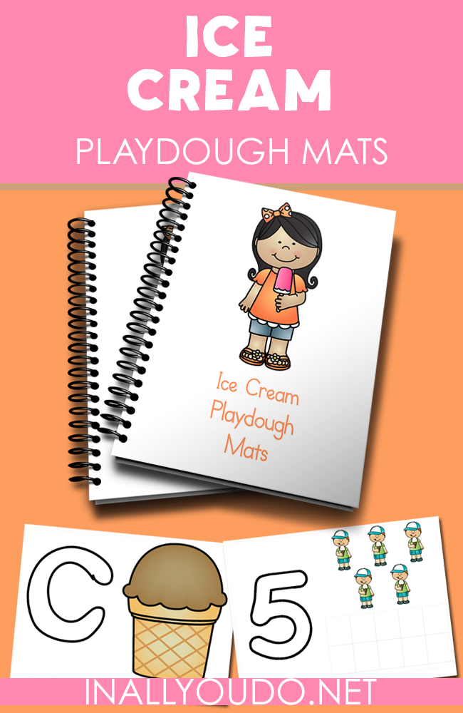Cool down on those hot summer days with these fun Ice Cream Playdough Mats. Includes 4 letters and 10 numbers for fine motor skills practice. :: www.inallyoudo.net