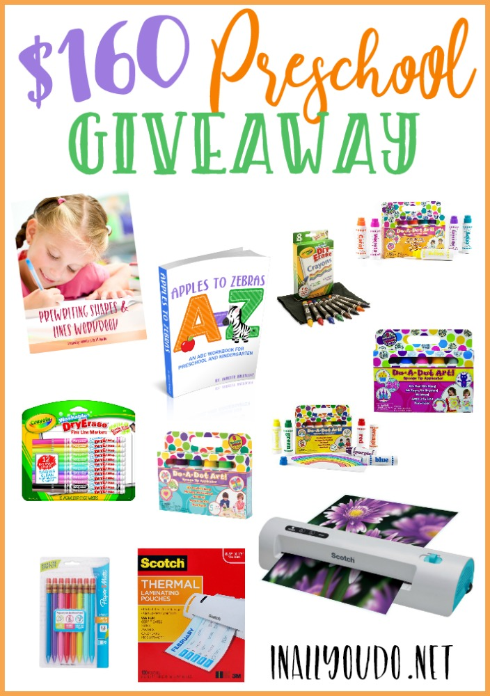 Gearing up for preschool? Don't miss your chance to win over $160 in products from Amazon and In All You Do! HURRY...giveaway ends Wednesday, July 26, 2017 at 11:59pm EST!! :: www.inallyoudo.net