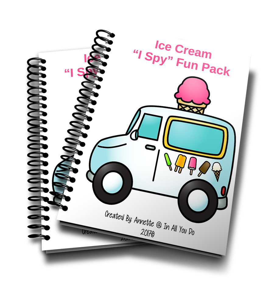 "Summer is the perfect time for enjoying some delicious ice cream! Little kids will enjoy this simple ""I Spy"" Fun Pack with a fun Ice Cream theme on those hot summer days. :: www.inallyoudo.net"