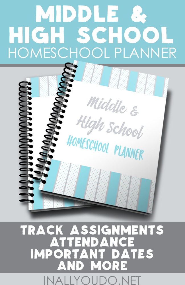 This 56-page homeschool student planner for Middle & High School is the perfect way to help them become more independent in their studies. This planner includes monthly, weekly & daily planners as well as planners for field trips, research papers, curriculum and much more! :: www.inallyoudo.net