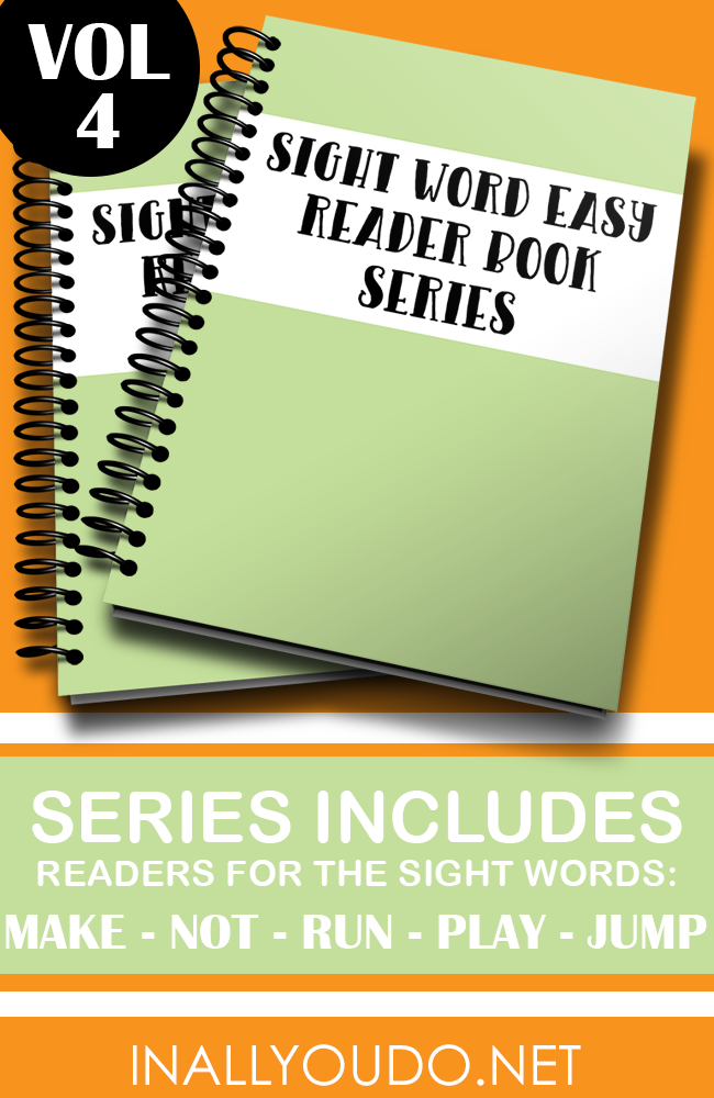 """In these five Easy Sight Word Readers, students will practice reading and building sentences on 5 sight words. The words included in this set are """"make"""", """"not"""", """"run"""", """"play"""" and """"jump"""". :: www.inallyoudo.net"""