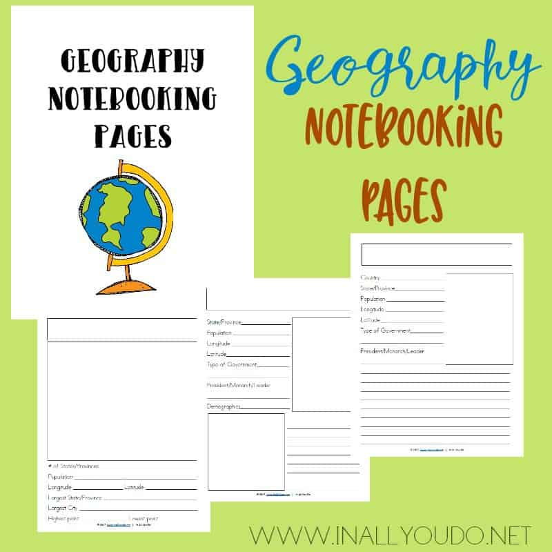 This 28-page Geography Notebooking set includes pages for city, country and continent, so it can be used in both US Geography and World Geography. :: www.inallyoudo.net