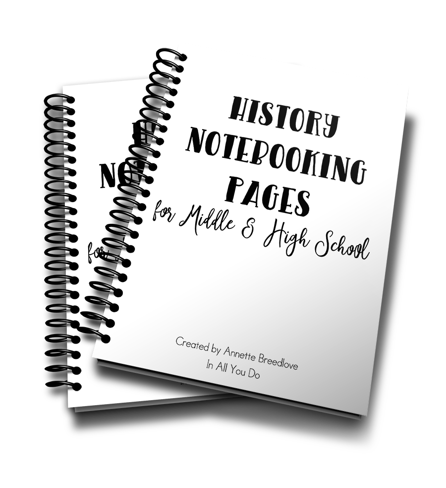 This 18-page notebooking set is the perfect addition to any middle or high schooler's history studies.These Notebooking Pages are generic so that you can use them with any history lesson, unit study or even after a field trip. :: www.inallyoudo.net
