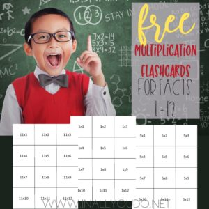 I remember practicing my math facts over and over, so I had them memorized. These printable Multiplication Flashcards includes all facts for 1 - 12. Since these are designed to be double-sided, it is recommended that these be printed on cardstock, so that the answers do not show through. :: www.inallyoudo.net