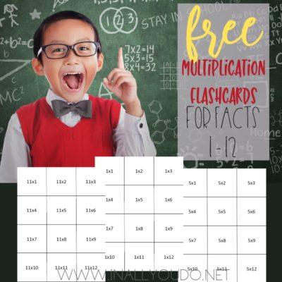 Printable Multiplication Flashcards (1-12)