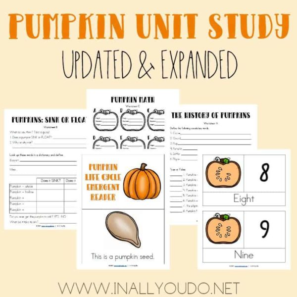 This Pumpkin Unit Study was one of the first ones I created over 5 years ago. I have updated and expanded it from 4 pages to 44 pages! It includes Language Arts, Science, Math, Social Studies/Geography, Visual Arts and much more! :: www.inallyoudo.net