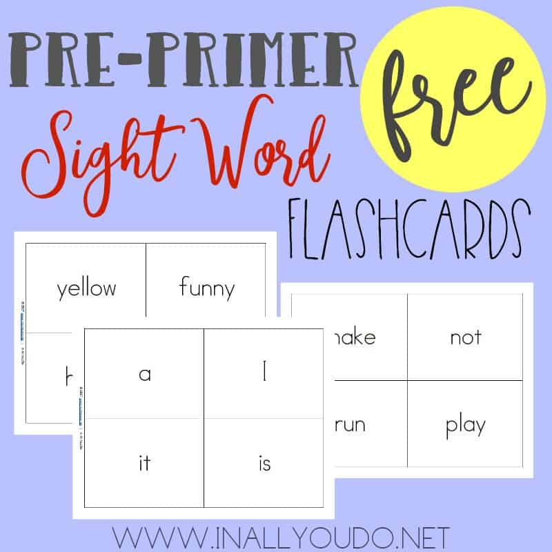 pre primer sight word flashcards