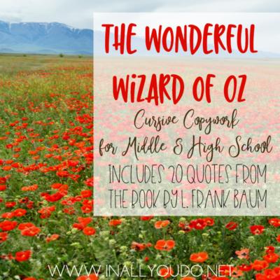 """The Wonderful Wizard of Oz"" Cursive Copywork"