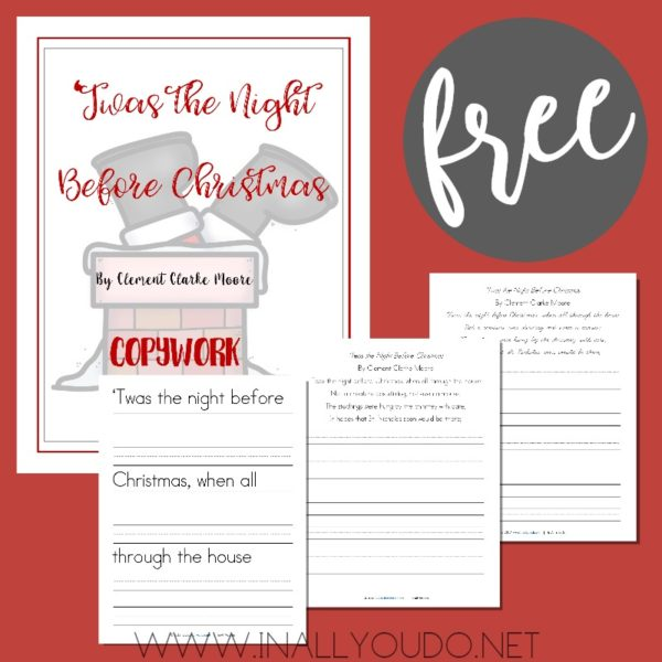 This 82-page notebooking set is the perfect addition to any holiday study. This copywork set includes three different age ranges - early writers, manuscript and cursive. :: www.inallyoudo.net