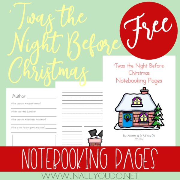 This 126-page notebooking set is the perfect addition to any holiday study.These Notebooking Pages include generic and thematic pages, so that you can use them with the classic poem, book, play or other adaptation. :: www.inallyoudo.net