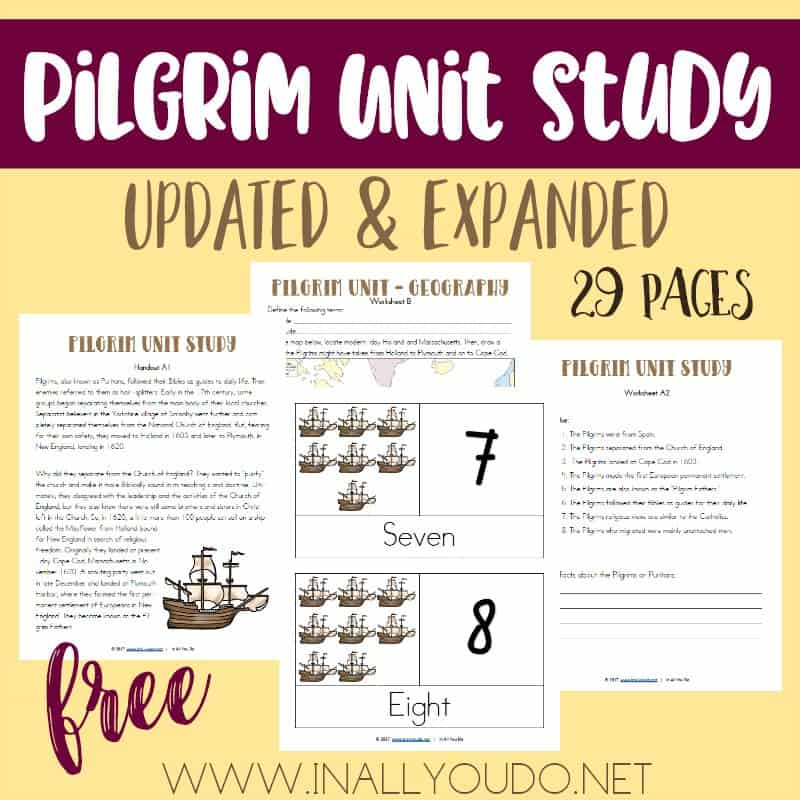 This Pilgrim Unit Study was one of the first ones I created over 5 years ago. I have updated and expanded it from 10 pages to 29 pages! It includes Language Arts, Science, Math, Social Studies/Geography, Visual Arts and much more! :: www.inallyoudo.net