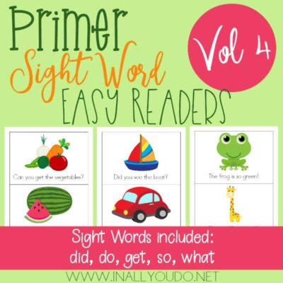 Volume 4 – Primer Sight Word Easy Readers