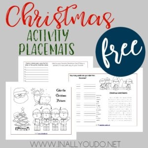 These Christmas Activity Placemats are the perfect addition to any unit study or lunch during the month of December.The placemats include 3 pages of coloring, puzzles & trivia questions! :: www.inallyoudo.net