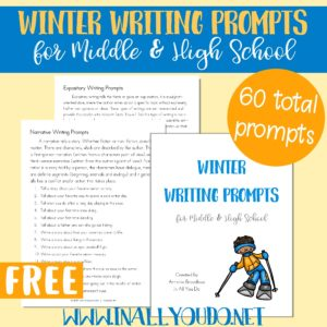 These Winter Themed Writing Prompts are perfect for Middle and High Schoolers to work on both their creative writing skills and the four different types of writing styles. Includes 60 prompts in the four different styles and an idea page of how to use them. :: www.inallyoudo.net