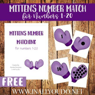 Mittens Number Matching 1-20