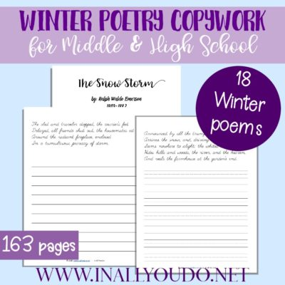 Winter Poetry Copywork for Middle & High School
