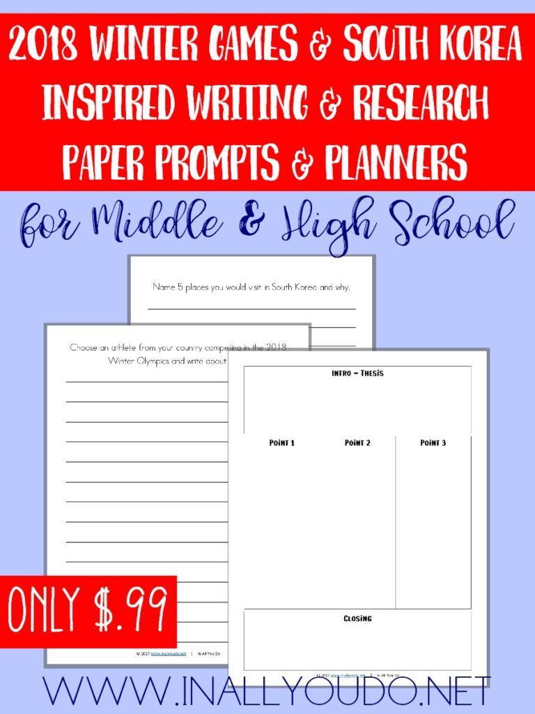 These Writing Prompts are perfect for young writers still working on their skills and the research paper starters and planners, all pertaining to the 2018 Winter Games, can be used by Middle and High Schoolers. :: www.inallyoudo.net