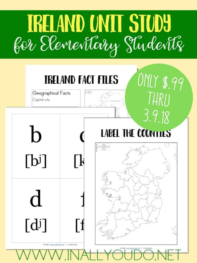 It's never too early to start learning World Geography. This Ireland Unit Study covers the alphabet and geography and includes fact files and notebooking pages. This is a great supplement to a world geography unit or alongside a St. Patrick's Day study! :: www.inallyoudo.net