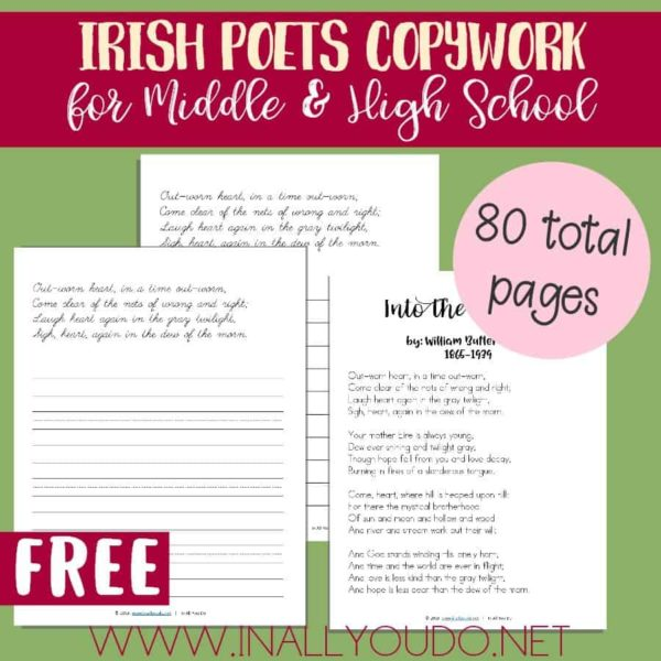 In this fun Irish Poets Copywork set, students are introduced to 3 Irish poets and 6 poems. This is a fun way to learn more about Ireland, the Irish and even their language! :: www.inallyoudo.net