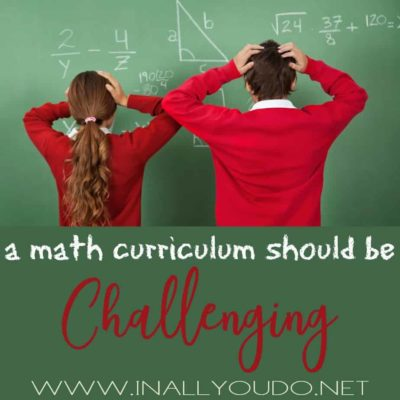A Math Curriculum Should be Challenging