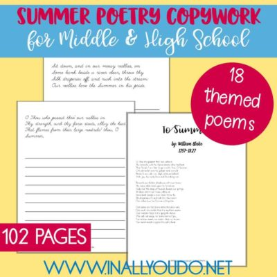 Summer Poetry Copywork for Middle & High School