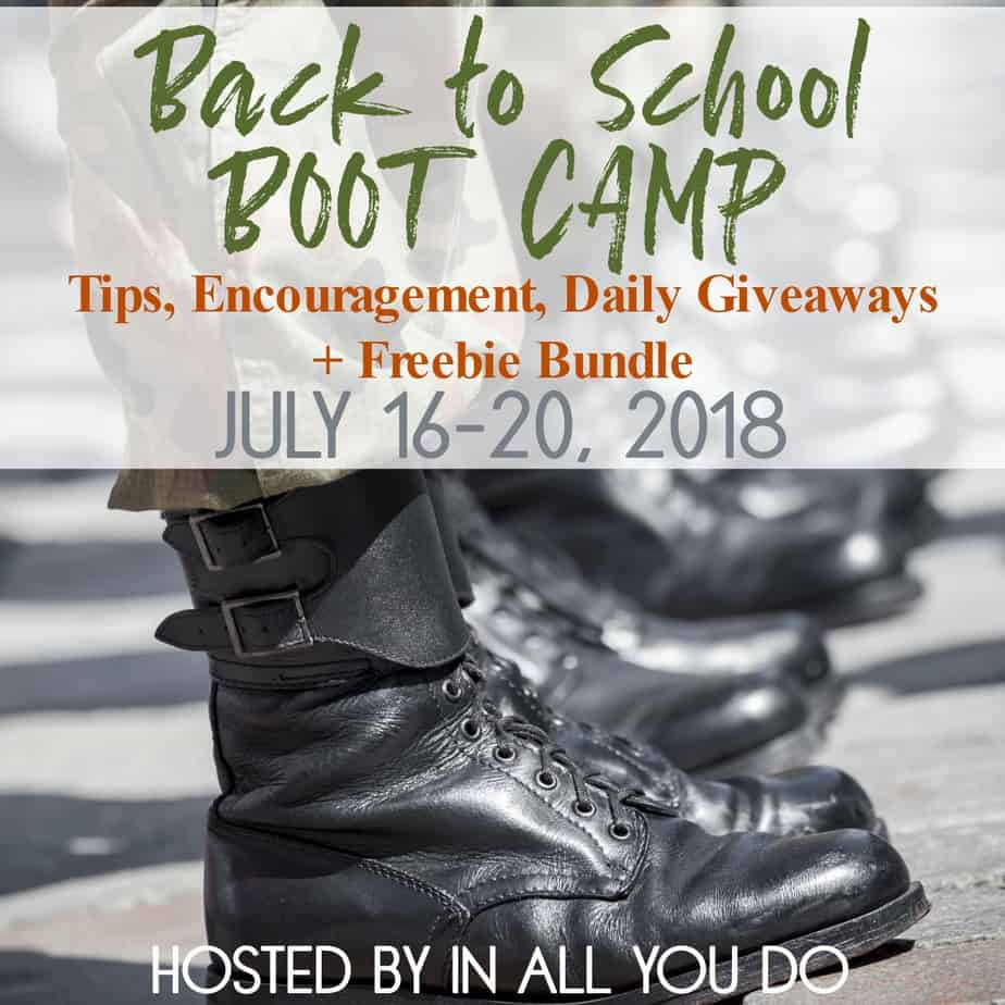 Are you stressing over what to plan, how to plan or where to start for the upcoming school year? Join us for Back to School BOOT CAMP! Includes tips, encouragement, giveaways and more!