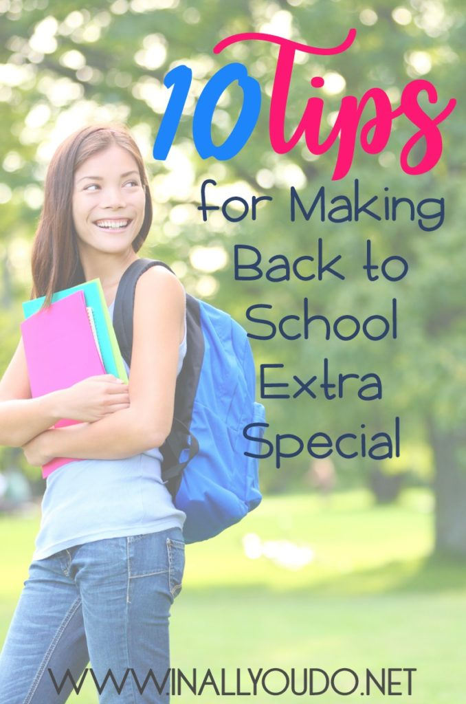 Sometimes as homeschoolers we forget to make back to school special for our kids, because it is just like any other day. However, these 10 Tips are perfect for making your homeschoolers feel special this year as you start back to school! :: www.inallyoudo.net