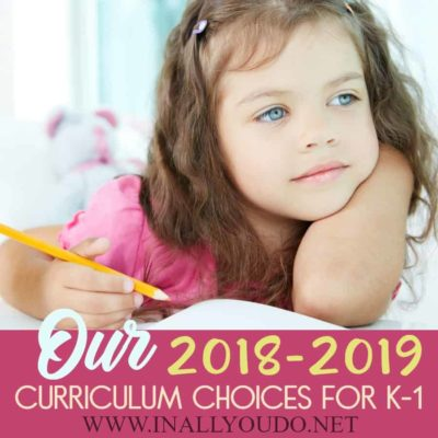 Our 2018-2019 Curriculum Choices for K-1