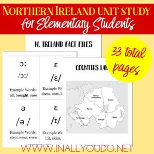 Make learning World Geography fun! This Northern Ireland Unit Study covers the alphabet and geography and includes fact files and notebooking pages. This is a great supplement to a world geography unit! #worldgeography #northernireland #geography #homeschooling #homeschoolers #elementary