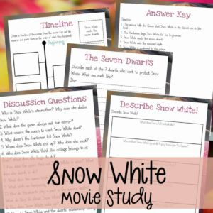 """If your kids love the classic movie """"Snow White"""" as much as mine, they are sure to enjoy this fun movie study! Have a fun movie day and sneak in a little learning with these activities! #moviestudy #movies #snowwhite #7dwarfs #homeschooling #"""