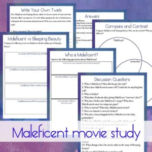 If your older kids love the story of Sleeping Beauty, they might just love Maleficent too! Be sure to download this movie study to use with them as you watch together! #moviestudy #Maleficent #homeschoolers #homeschooling