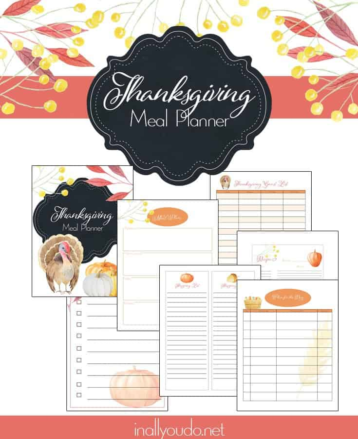 Whether you're planning a large or small Thanksgiving Dinner with friends and family, this planner can help you get organized, create a meal plan, shopping list and more! #Thanksgiving #mealplanner #mealplanning #menuplanner