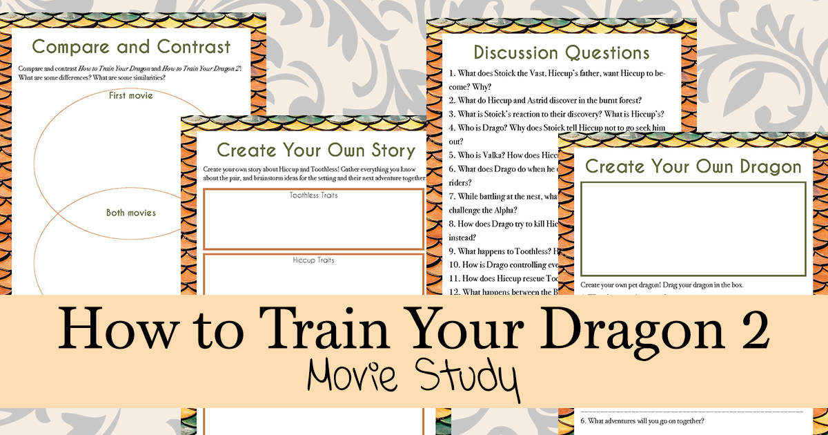 If your kids love How to Train Your Dragons 2, they will love working through this movie study based on the second film. This movie study is a fun way to bring some learning to your home through movies! #moviestudy #HowtoTrainYourDragons2 #movies #homeschoolers