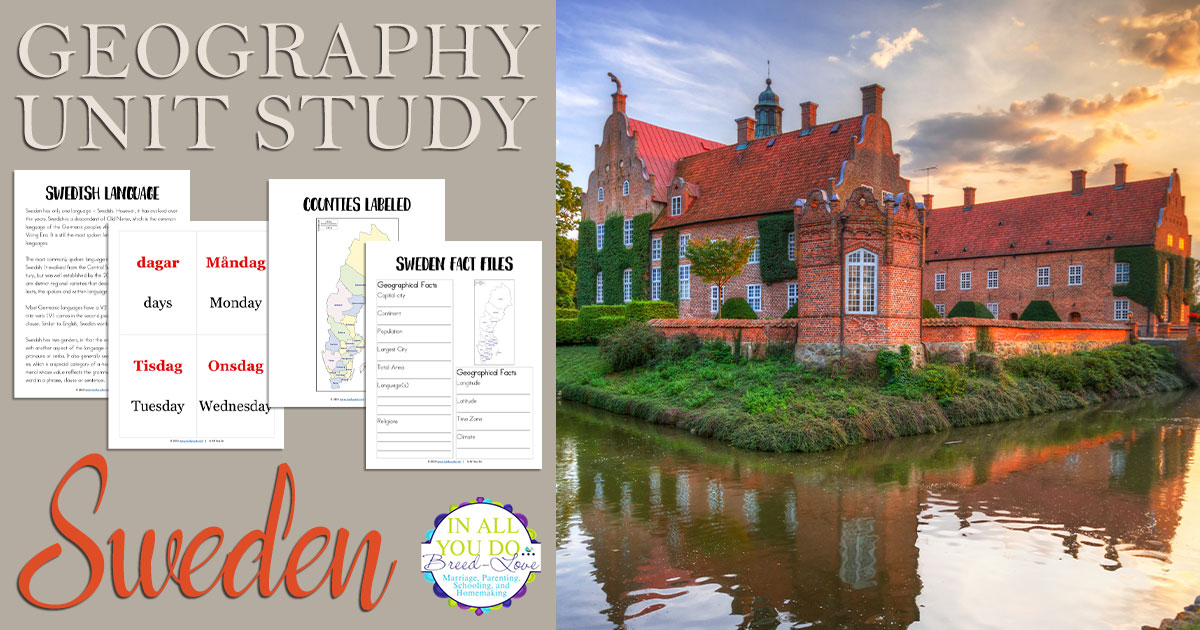 The Sweden Unit Study covers both the alphabet (basic information about their native language) and geography.  It includes fact files and notebooking pages, as well flashcards for vowels, consonants and vocabulary. #Sweden #geography #homeschoolers #unitstudy